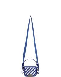 Bolso bandolera de cuero en blanco y azul marino