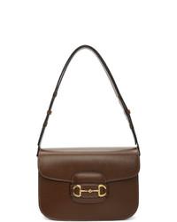 Bolso bandolera de cuero en marrón oscuro de Gucci