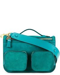 Bolso bandolera de cuero en verde azulado de Anya Hindmarch