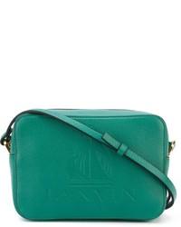 Bolso bandolera de cuero en verde azulado de Lanvin