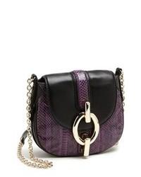 Bolso bandolera de cuero en violeta