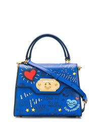 Bolso bandolera de cuero estampado azul de Dolce & Gabbana