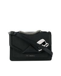 Bolso bandolera de cuero estampado en negro y blanco de Karl Lagerfeld