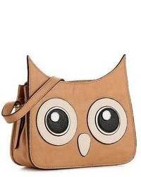 Bolso bandolera de cuero estampado marrón claro