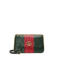 Bolso bandolera de cuero estampado verde oscuro de Gucci