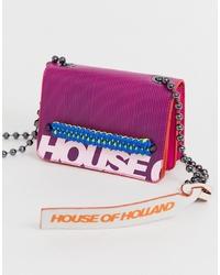 Bolso bandolera de cuero morado de House of Holland