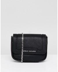 Bolso bandolera de cuero negro de Armani Exchange