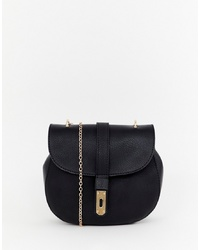 Bolso bandolera de cuero negro de Yoki Fashion