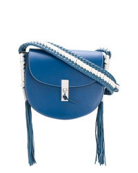 Bolso bandolera de cuero сon flecos azul de Altuzarra