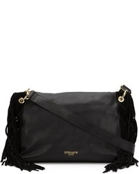 Bolso bandolera de cuero сon flecos negro de Derek Lam 10 Crosby