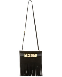 Bolso bandolera de cuero сon flecos negro de Moschino