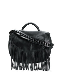 Bolso Bandolera de Cuero Сon Flecos Negro de RED Valentino