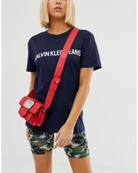 Bolso bandolera de cuero rojo de Calvin Klein Jeans
