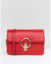 Bolso bandolera de cuero rojo de Glamorous
