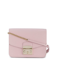 Bolso bandolera de cuero rosado de Furla