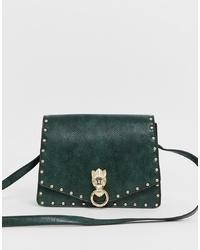 Bolso bandolera de cuero verde oscuro de ASOS DESIGN
