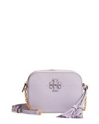 Bolso bandolera de cuero violeta claro