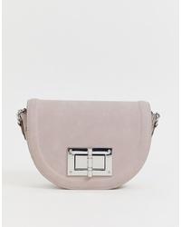Bolso bandolera de cuero violeta claro de Lipsy
