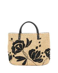 Bolso bandolera de paja con print de flores marrón claro de Ermanno Scervino