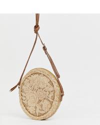 Bolso bandolera de paja marrón claro de Accessorize