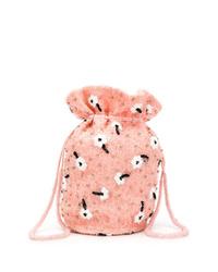 Bolso bandolera de pelo rosado de Ganni
