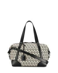 Bolso baúl de lona en blanco y negro de Salvatore Ferragamo
