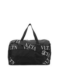 Bolso baúl de lona en negro y blanco de Valentino