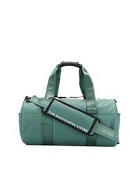 Bolso baúl de lona en verde azulado