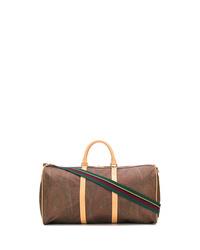 Bolso baúl de lona estampado marrón de Etro