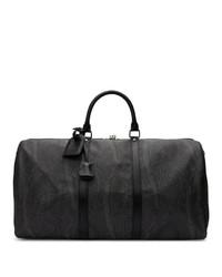 Bolso baúl de lona estampado negro de Etro