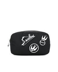 Bolso con cremallera bordado negro de McQ Alexander McQueen