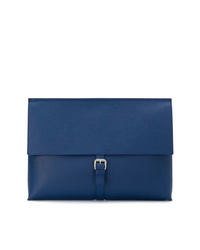 Bolso con cremallera de cuero azul marino de Orciani
