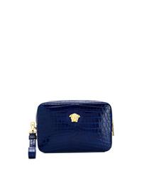 Bolso con cremallera de cuero azul marino de Versace