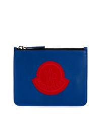 Bolso con cremallera de cuero azul de Moncler