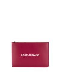 Bolso con cremallera de cuero burdeos de Dolce & Gabbana