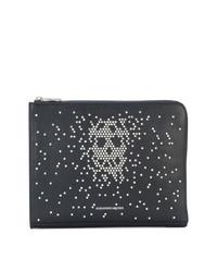 Bolso con cremallera de cuero con adornos negro de Alexander McQueen