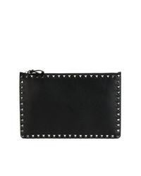 Bolso con cremallera de cuero con adornos negro de Valentino