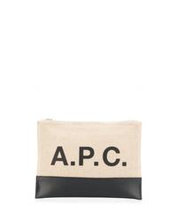 Bolso con cremallera de cuero en beige de A.P.C.