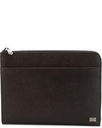 Bolso con cremallera de cuero en marrón oscuro de Dolce & Gabbana