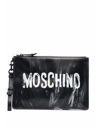 Bolso con cremallera de cuero en negro y blanco de Moschino