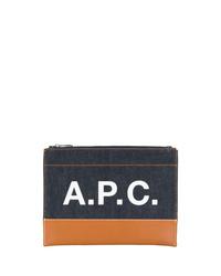 Bolso con cremallera de cuero estampado azul marino de A.P.C.