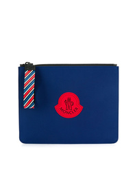 Bolso con cremallera de cuero estampado azul de Moncler