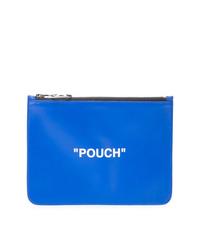 Bolso con cremallera de cuero estampado azul de Off-White