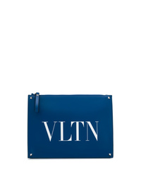 Bolso con cremallera de cuero estampado azul de Valentino