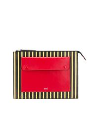 Bolso con cremallera de cuero estampado en multicolor de AMI Alexandre Mattiussi