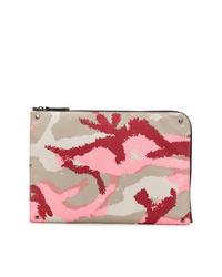 Bolso con cremallera de cuero estampado en multicolor de Valentino
