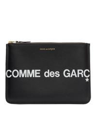 Bolso con cremallera de cuero estampado en negro y blanco de Comme des Garcons Wallets