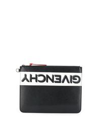 Bolso con cremallera de cuero estampado en negro y blanco de Givenchy