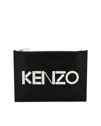 Bolso con cremallera de cuero estampado en negro y blanco de Kenzo
