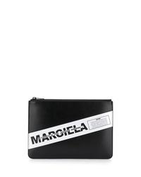 Bolso con cremallera de cuero estampado en negro y blanco de Maison Margiela